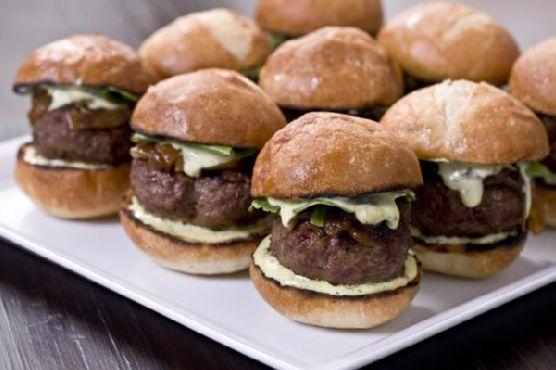 Kobe Beef Sliders With Tarragon Aioli and Caramelized Onions