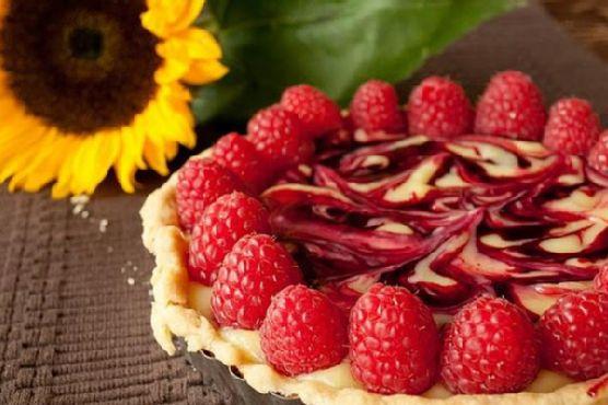 Lemon Curd Tart With Raspberries and Fresh Picked Huckleberry Sa