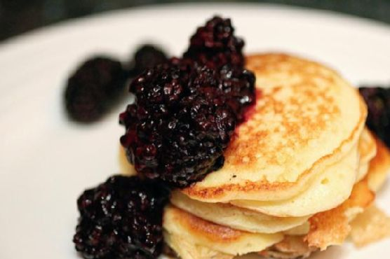 Meyer Lemon Ricotta Pancakes with Blackberry Compote