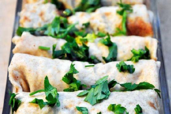 Mushroom Crepes with Vegetarian Sauce