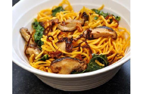 Noodles With Chinese Kale & Shitake Mushrooms