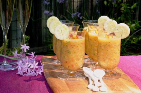 Organic Peach, Cucumber & Golden Tomato Gazpacho