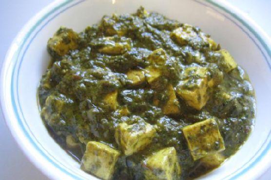 Palak-tofu (bean curd)