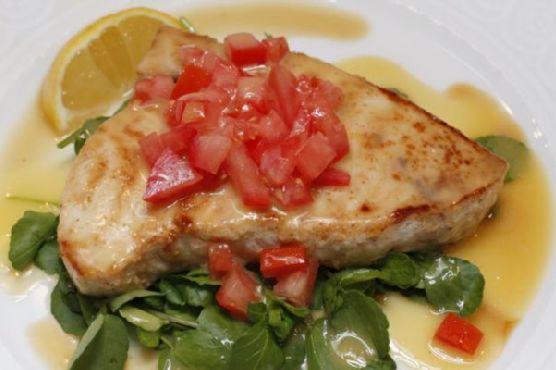 Pan-Roasted Swordfish with Chopped Tomatoes and Lemon Beurre Blanc