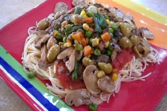 Pasta With Roasted Vegetables & Greek Olives