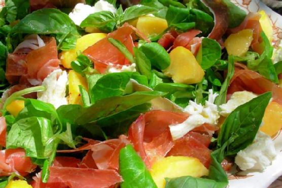 Peach, Ham and Feta Salad with Fruity Olive Oil Dressing