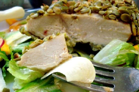 Pepita Crusted Chicken Salad With Sweet Adobo Vinaigrette