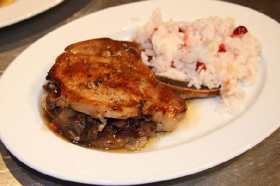 Pork Chops With Dried Cranberries, Mushrooms and Chestnut Stuffing