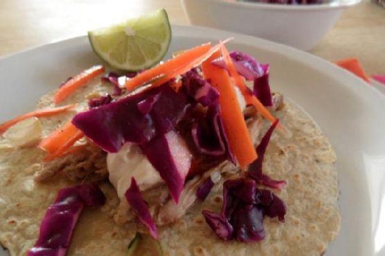 Pork Shoulder Tacos with Chipotle Greek Yogurt and Coleslaw