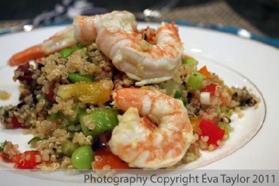 Quinoa Tabouli with Lemon Garlic Grilled Shrimp