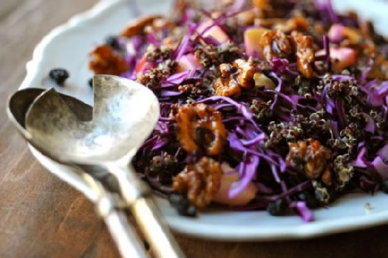 Red Cabbage Salad with Quinoa, Blueberries & Cinnamon Walnuts