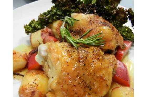 Rhubarb Roasted Chicken and Potatoes With Crispy Kale Chips