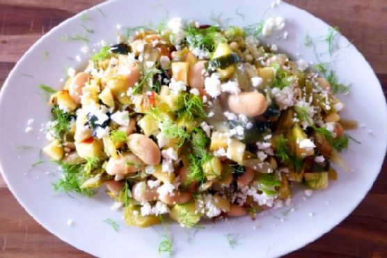 Roast Fennel and Leek Salad with Butterbeans