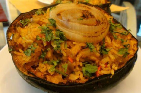 Roasted Acorn Squash Stuffed W/spicy Biryani (Veg/vegan)