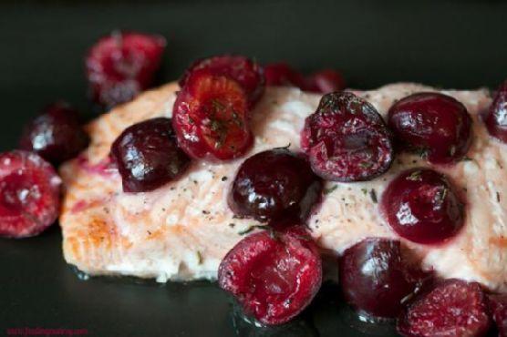 Roasted Alaskan Salmon with Cherries