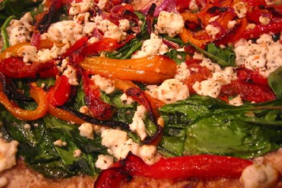Roasted Peppers, Spinach & Feta Pizza
