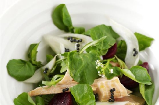 Salmon, Watercress, Fennel and Baby Beetroot Salad With Lemony