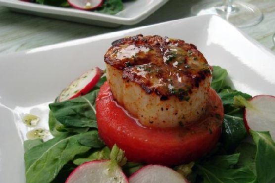 Seared Scallop and Watermelon Salad With Sparkling Mint Vinaigrette