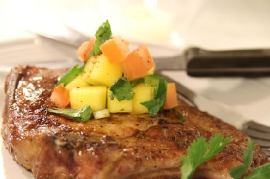 Seared Pork Chops W/ Mango Salsa