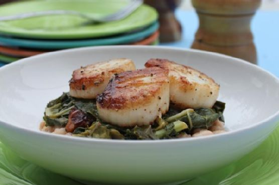 Seared Scallops With Wilted Greens