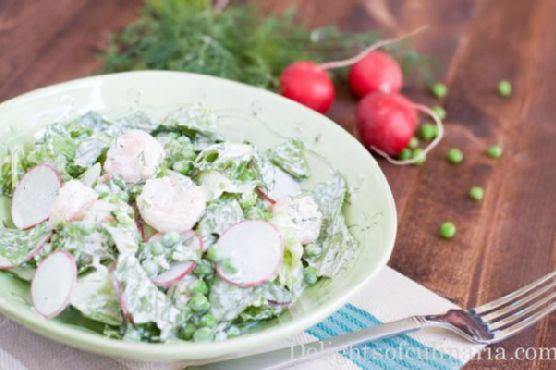 Shrimp, Pea and Radish Salad with Herb Yogurt Dressing
