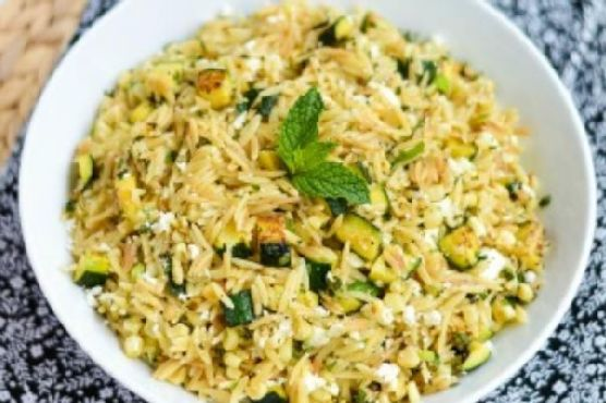 Skillet Orzo with Zucchini, Corn, Feta & Mint
