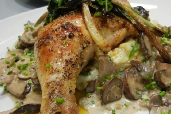 Spiced Chicken With Risotto, Wild Mushroom Cognac Cream, and Pan-Seared Ramps