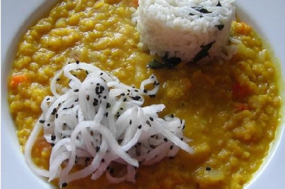 Split Red Lentils With Basmati Rice and Daikon Relish
