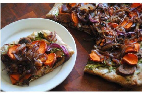 Sweet Potato, Sausage and Caramelized Onion Pizza