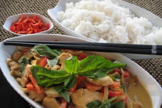 Thai Basil Chicken With Green Curry