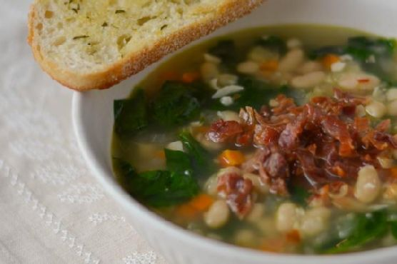 White Bean and Garlic Soup with Spinach and Crispy Prosciutto and Rosemary-Garlic Toasts