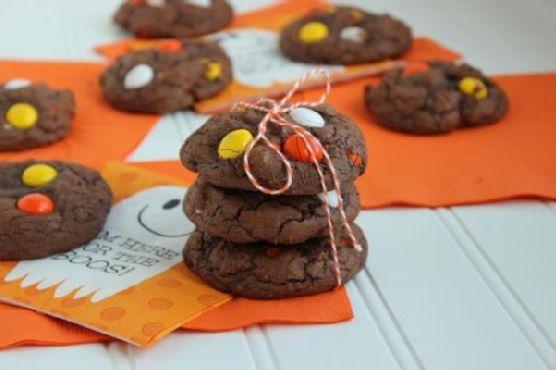 White Chocolate Candy Corn M&M Brownie Cookies
