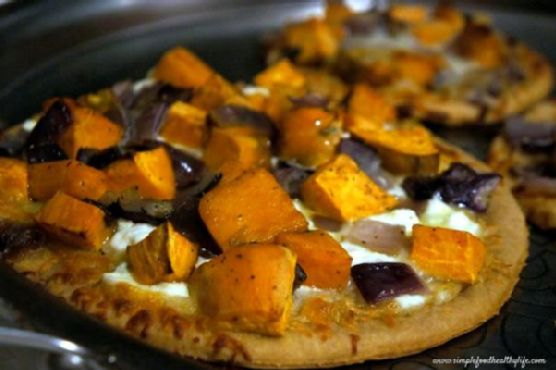 Whole Wheat No-Yeast Pizza with Roasted Garlic, Sweet Potatoes, and Onions