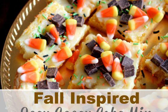 Fall Inspired Ooey Gooey Cake Mix Cheesecake Bars