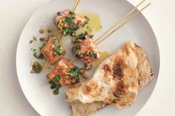 Salmon Kebabs With Cilantro Sauce Recipe