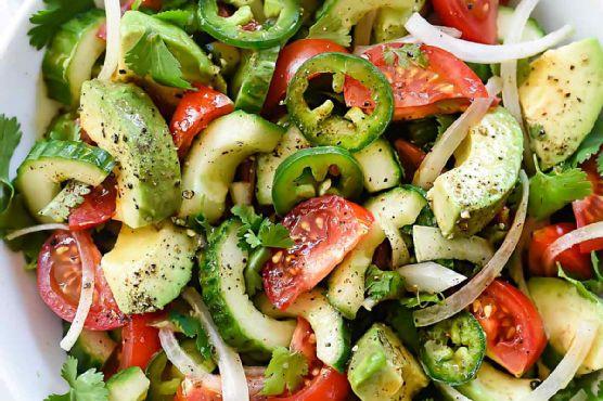 Tomato Avocado Cucumber and Maui Onion Salad