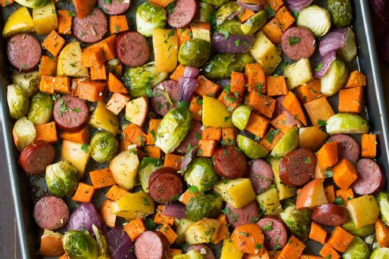 Autumn Sausage Veggie and Apple Sheet Pan Dinner