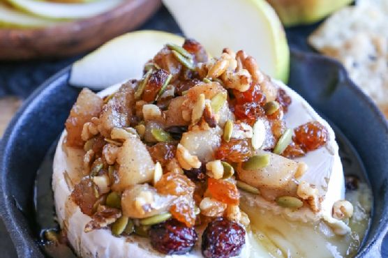 Maple Spiced Pear and Walnut Baked Brie