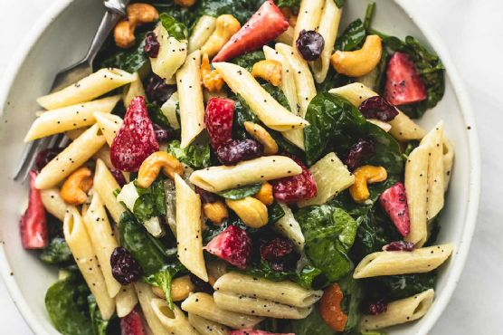Strawberry Spinach Pasta Salad with Orange Poppy Seed Dressing
