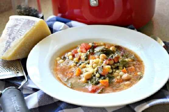 Garbanzo Bean Vegetable Soup with Pearled Couscous